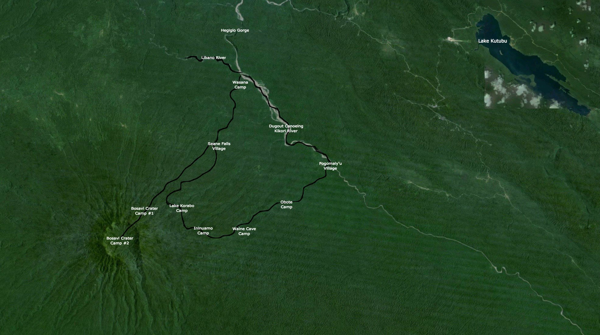 Map View Of Mount Bosavi Expedition Itinerary