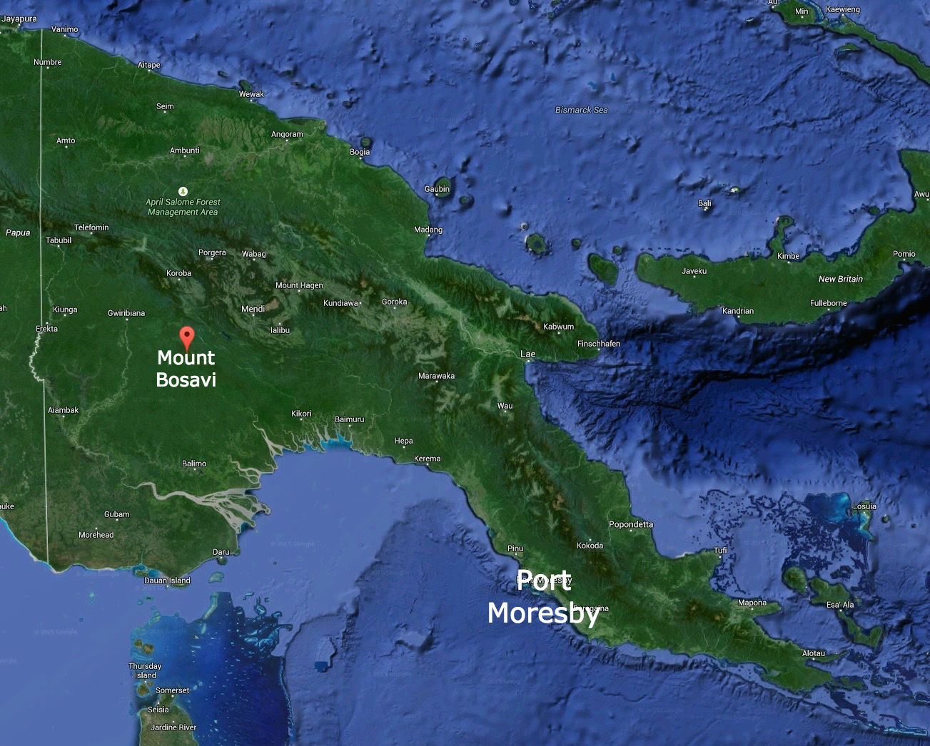 Mount Bosavi In Relation To The Capital City, Port Moresby, Papua New Guinea