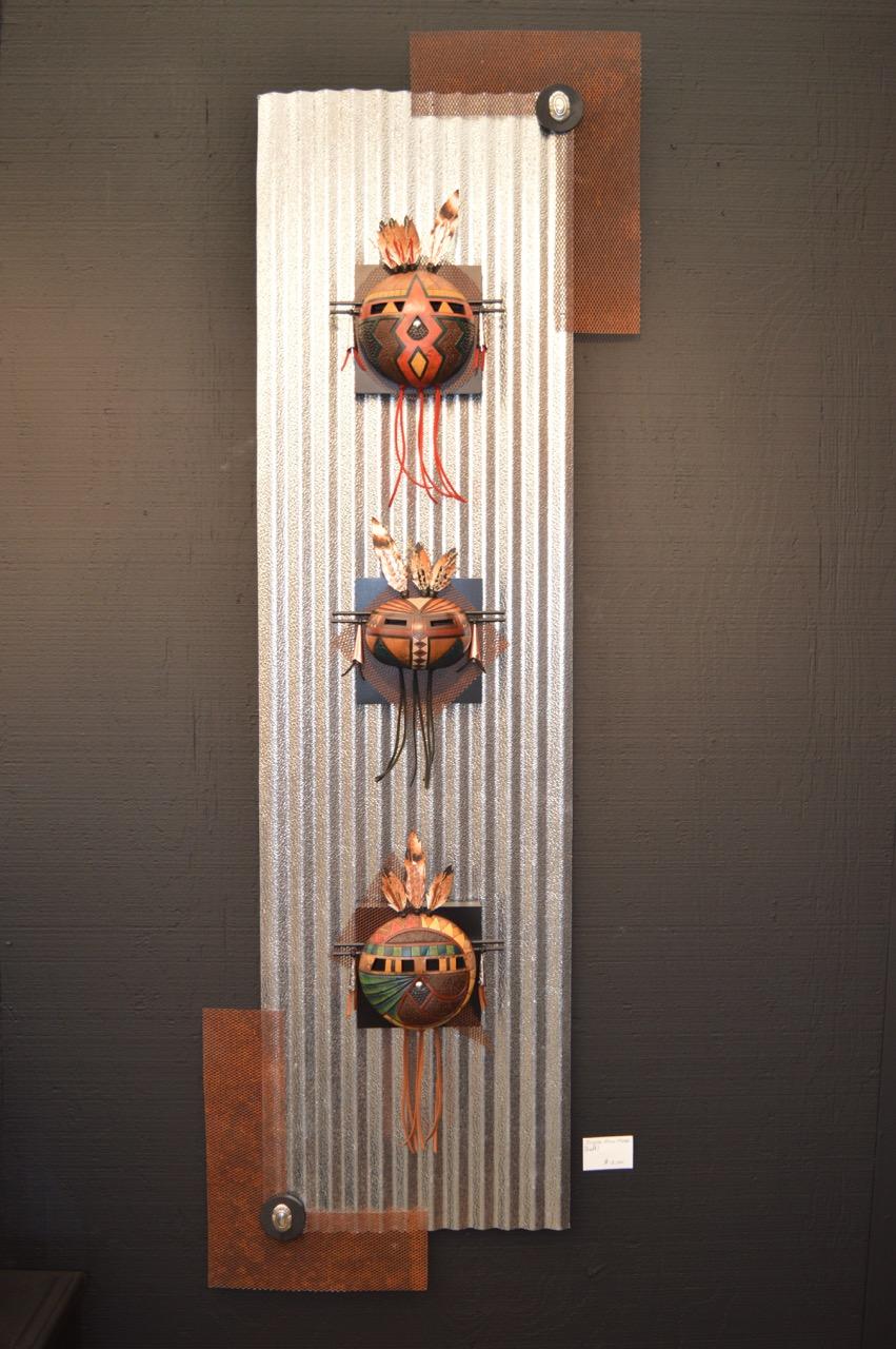 Three Mini Masks on Metal II
