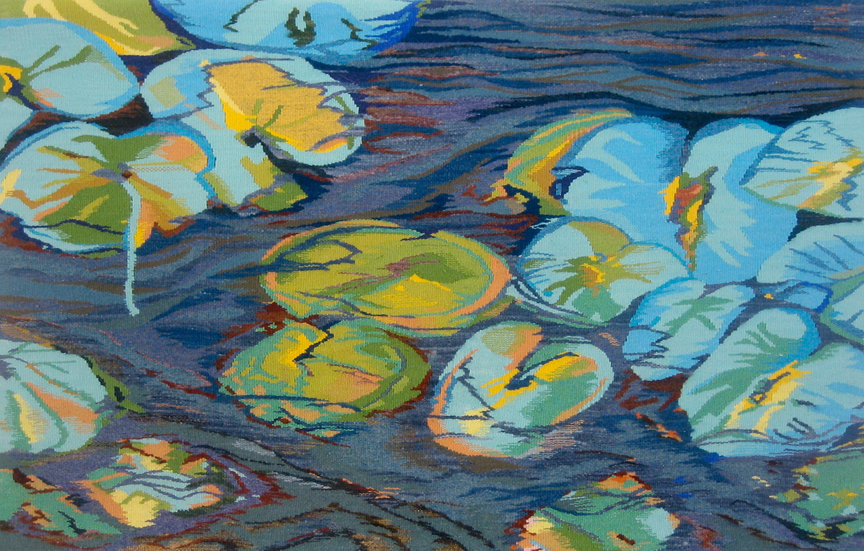 """Reflections 1 ,wool on cotton,28"""" x 43"""""""