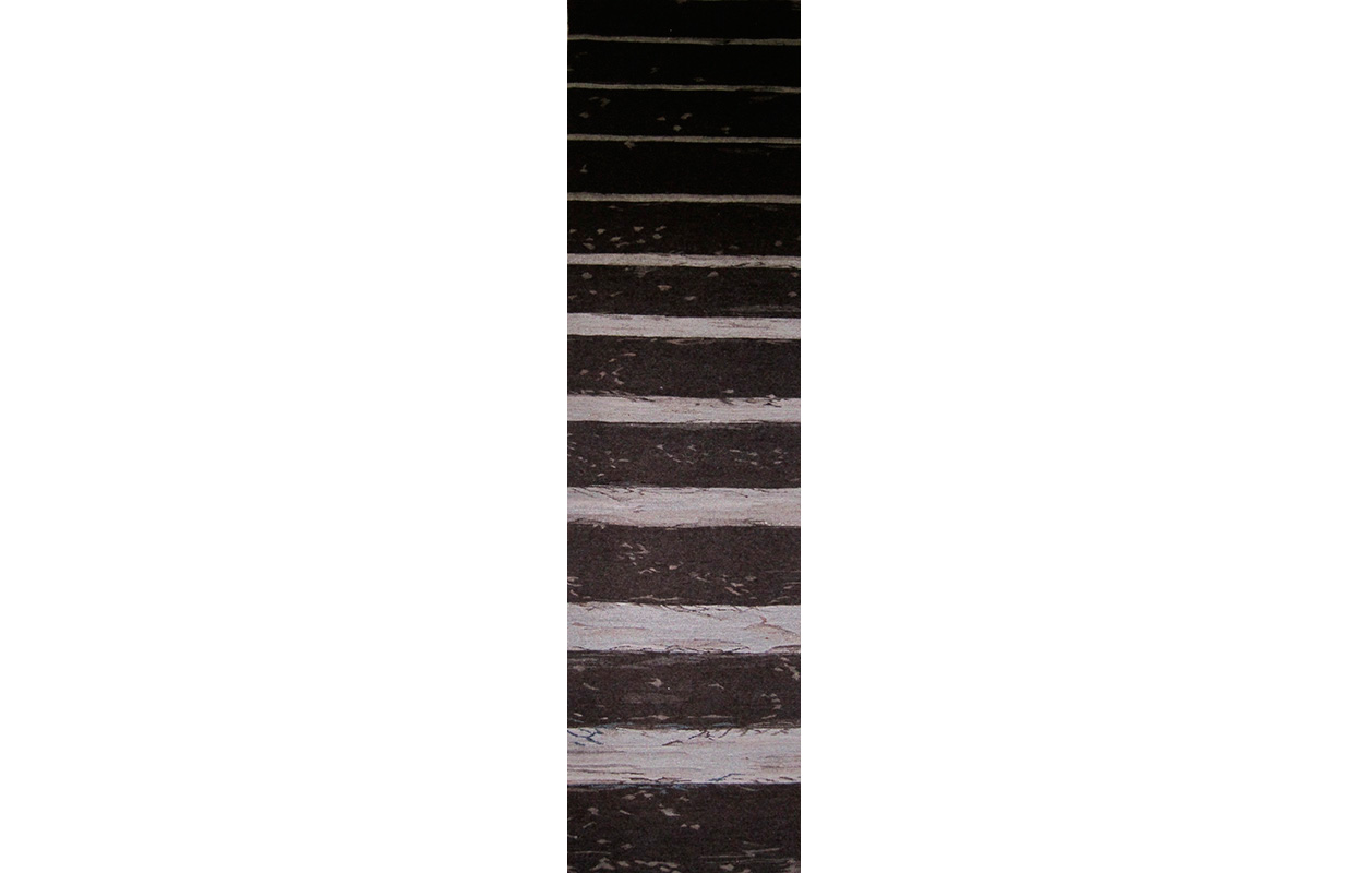 "Stairs , wool on cotton, 7'4"" x 2'"