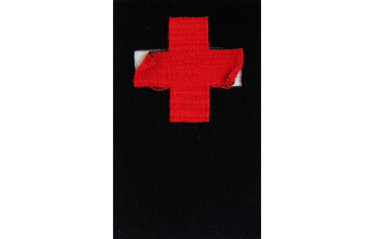 "Red Crosses 21 , Tapestry, wool on cotton, 12"" x 7.5"""