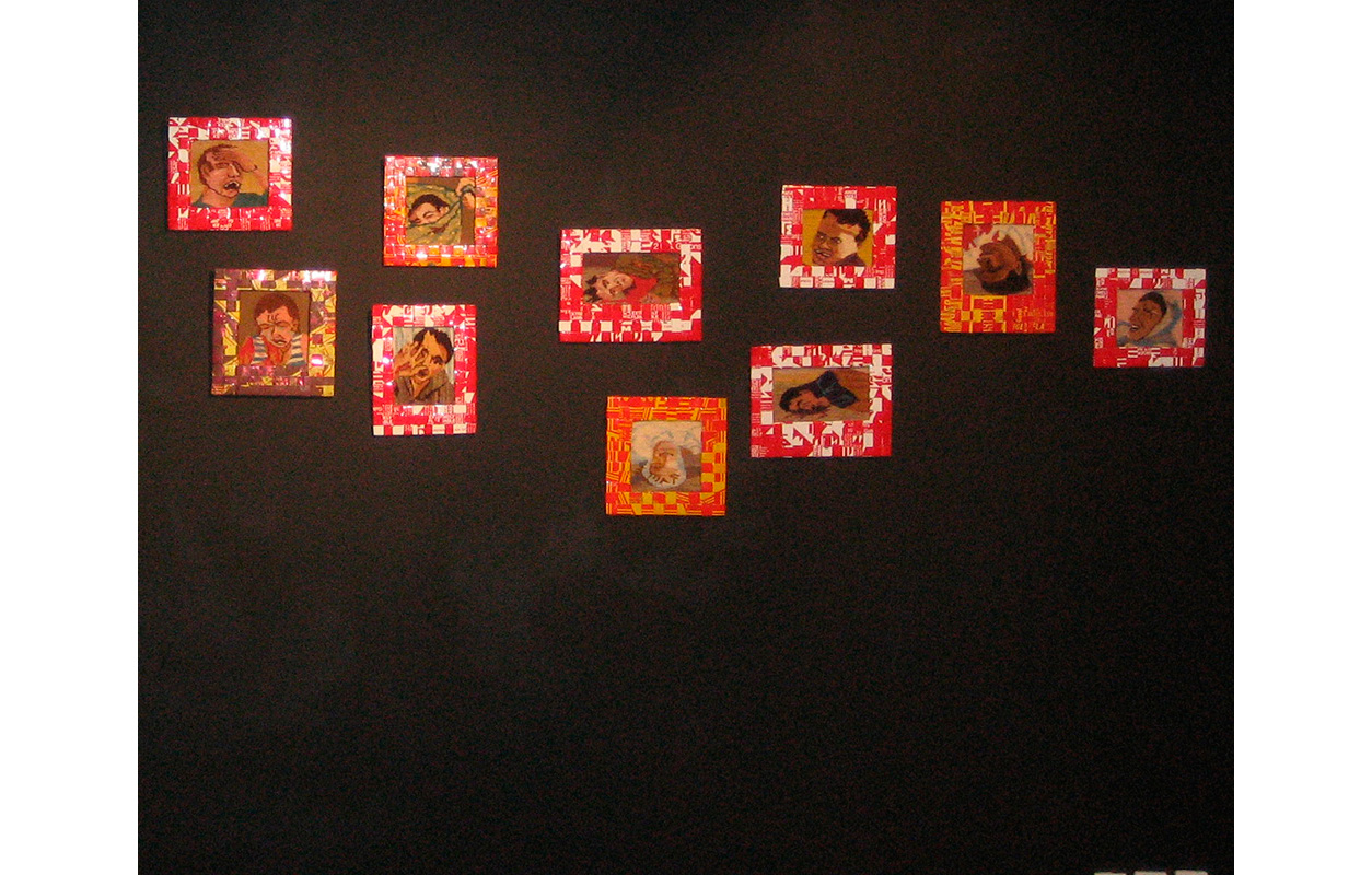 Gasoline Can Series  , Art Center Silkeborg Bad, Tapestry and cut up  strips from gas cans woven into frames, sizes vary