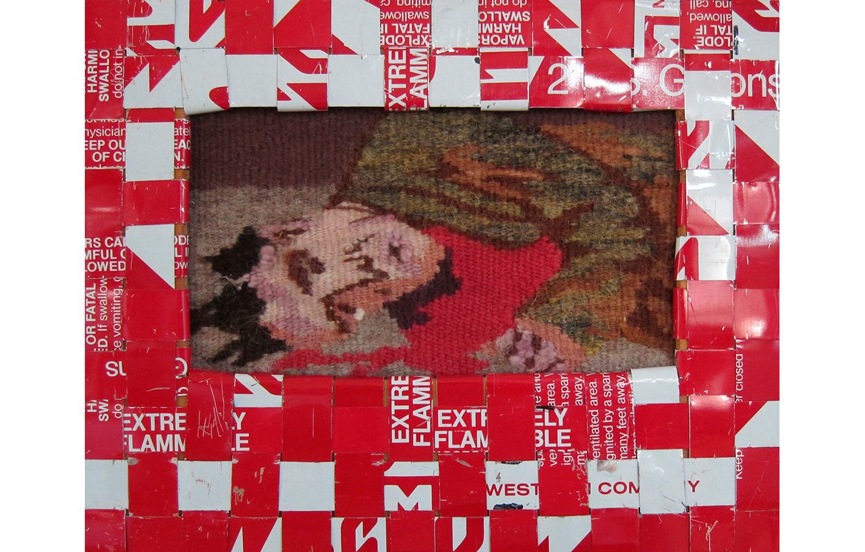 "Gasoline Can Series #9,  , Tapestry and cut up strips from gas cans woven into frames, 8.5"" x 10.75"""