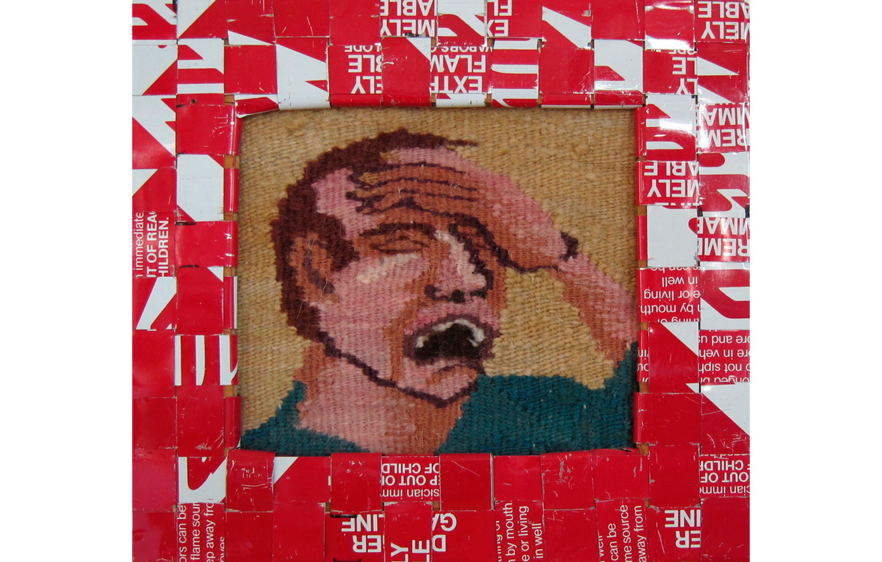"Gasoline Can Series, #13 ,   Tapestry and cut up strips from gas cans woven into frames,  8.625"" x 9.25"""