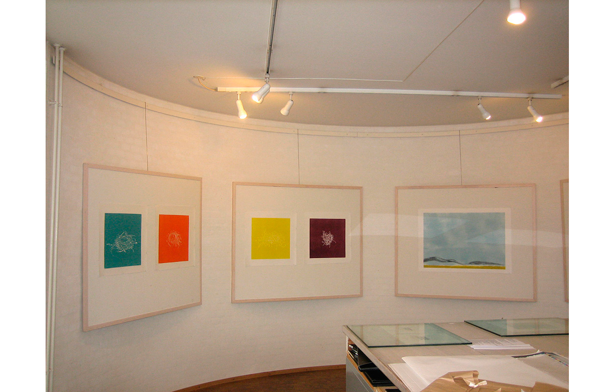 The Graphic Workshop of Fynen Denmark 2009 , Inge Nørgaard. A Gesture of Nature,  Sort Sol (Black Sun) , Monoprints