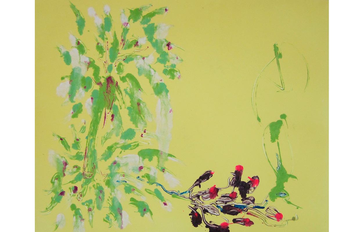 "Spring Flowers 8 ,Monoprint, 8"" x 9.75"""