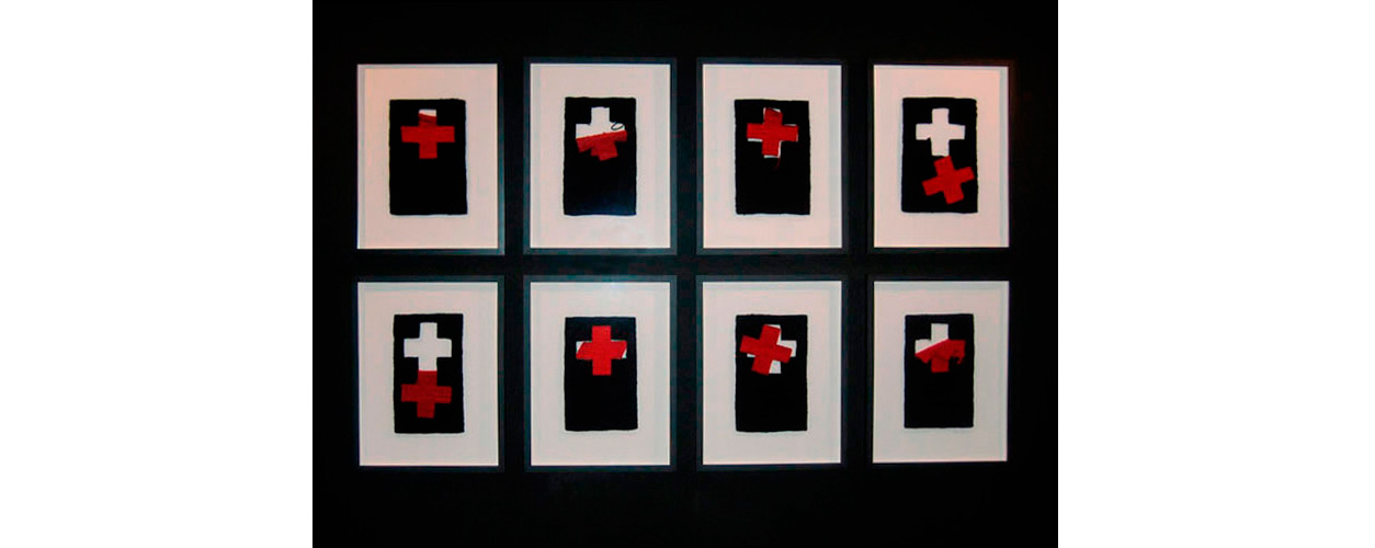 "Red Crosses , Art Center Silkeborg Bad, Tapestry, wool on cotton, 12"" x 7.5"" each panel"