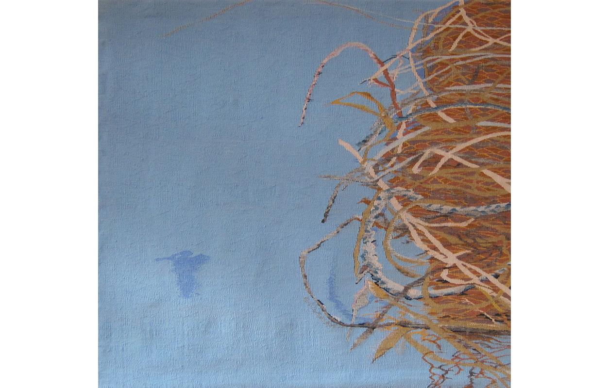 "Nesting 1 ,wool on cotton,43"" x 45"""