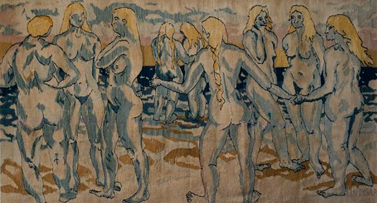 "Heimdal's Nine Mothers , Tapestry wool on cotton, 56"" x 92"""