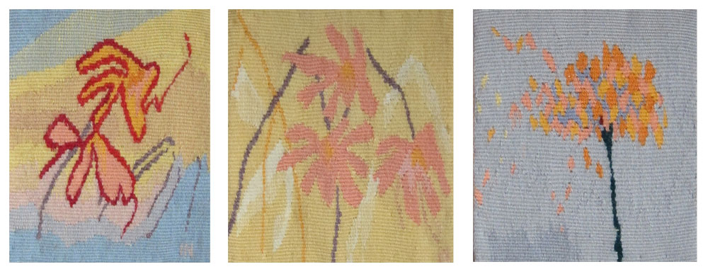 """Spring Flowers 1 , 6.75"""" x 6.5""""  Spring Flowers 2 , 7.25"""" x 6.5""""  Spring Flowers 3 , 6.75"""" x 6.5"""" Tapestry, wool on cotton"""