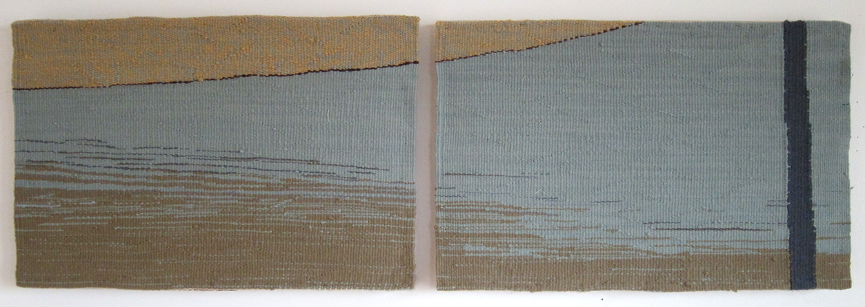 "Reflection , diptych, wool on cotton, 10"" x 15"" each"
