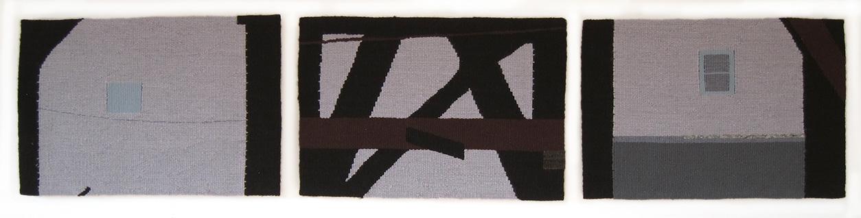 """Steel , triptych, wool on cotton, 10"""" x 15"""" each"""
