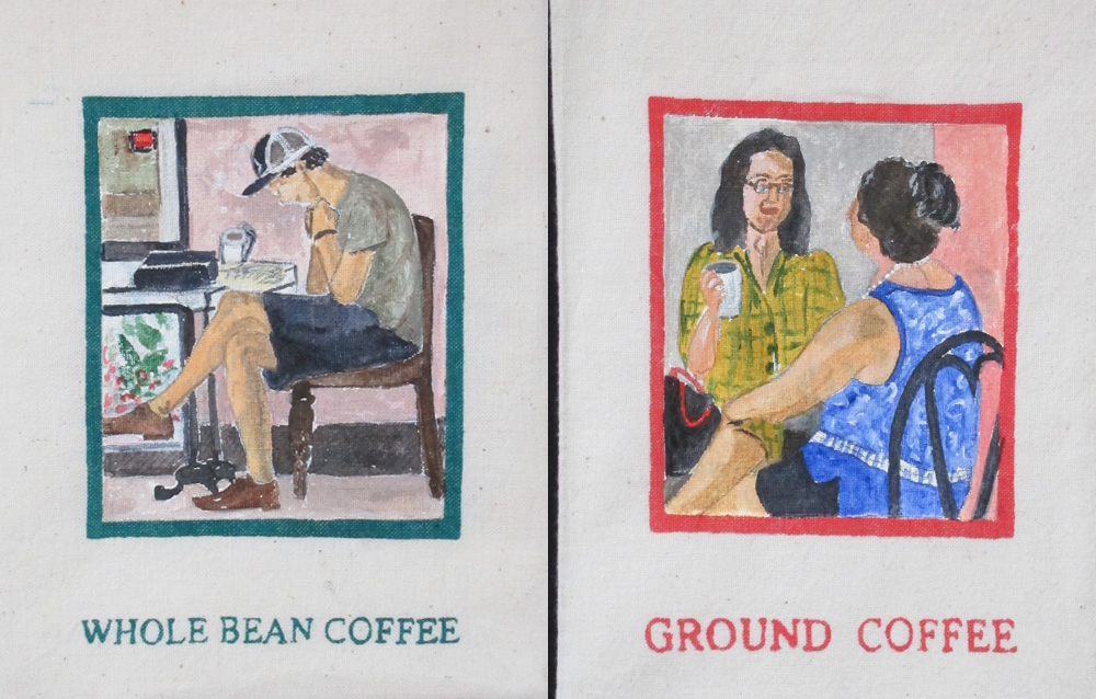Coffee Break  , detail, number 12 & 11, acrylic on recycled cotton coffee bags