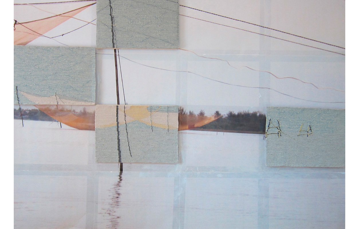 """Third Net  ,Tapestry, wool on cotton on photocopy from original photo, 11"""" x 16"""" each panel, 40"""" x 60"""" entire image"""