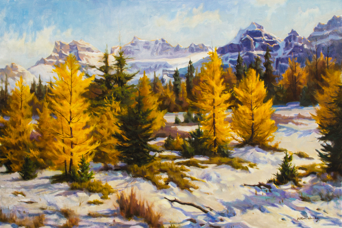 "Golden Larch Valley | Oil on Canvas | 24"" x 36"""