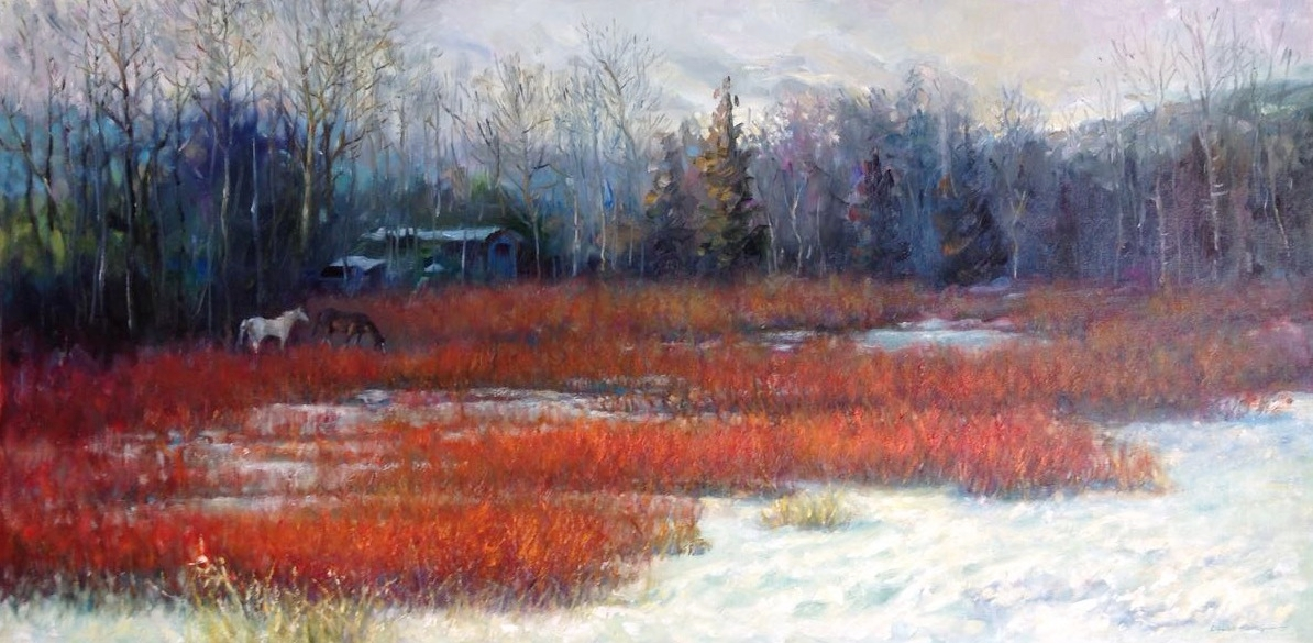 Red Bushes | Oil | 18 x 36 | $3,775 USD
