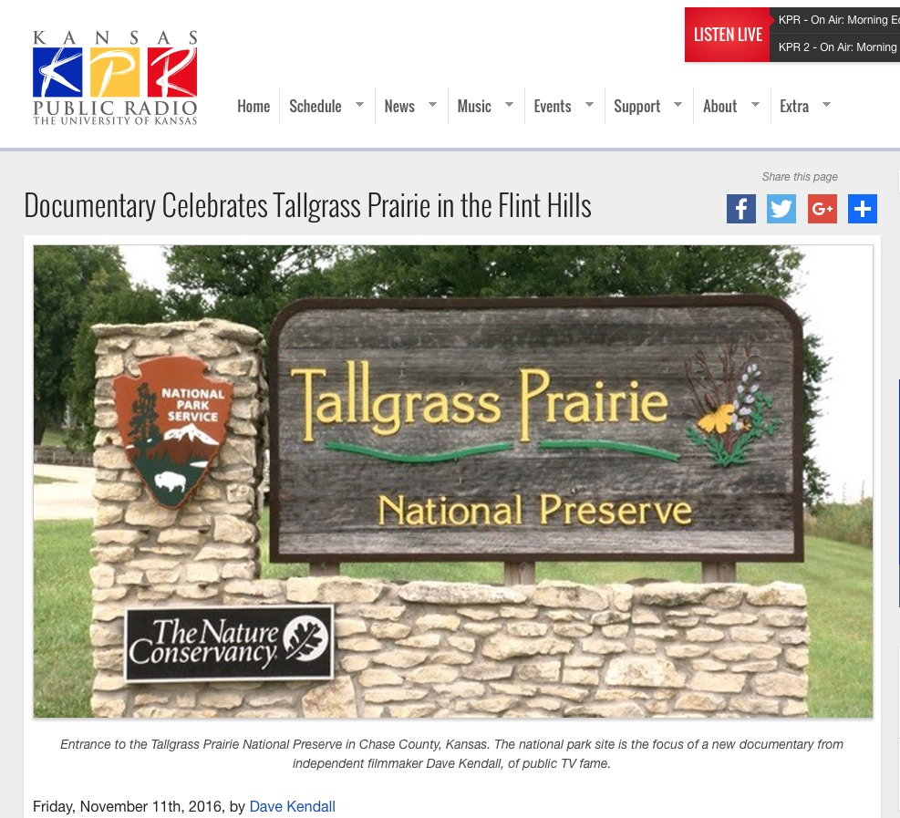 We produced a three-part radio series about the creation of the preserve for broadcast on  Kansas Public Radio .