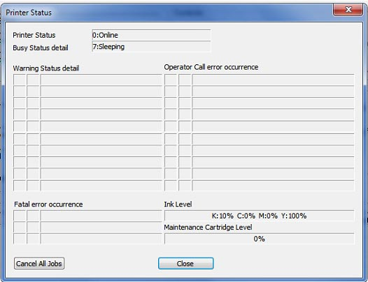Figure 2: Printer Status page
