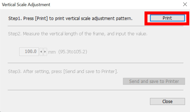 Figure 8: Vertical Scale Adjustment pattern print button