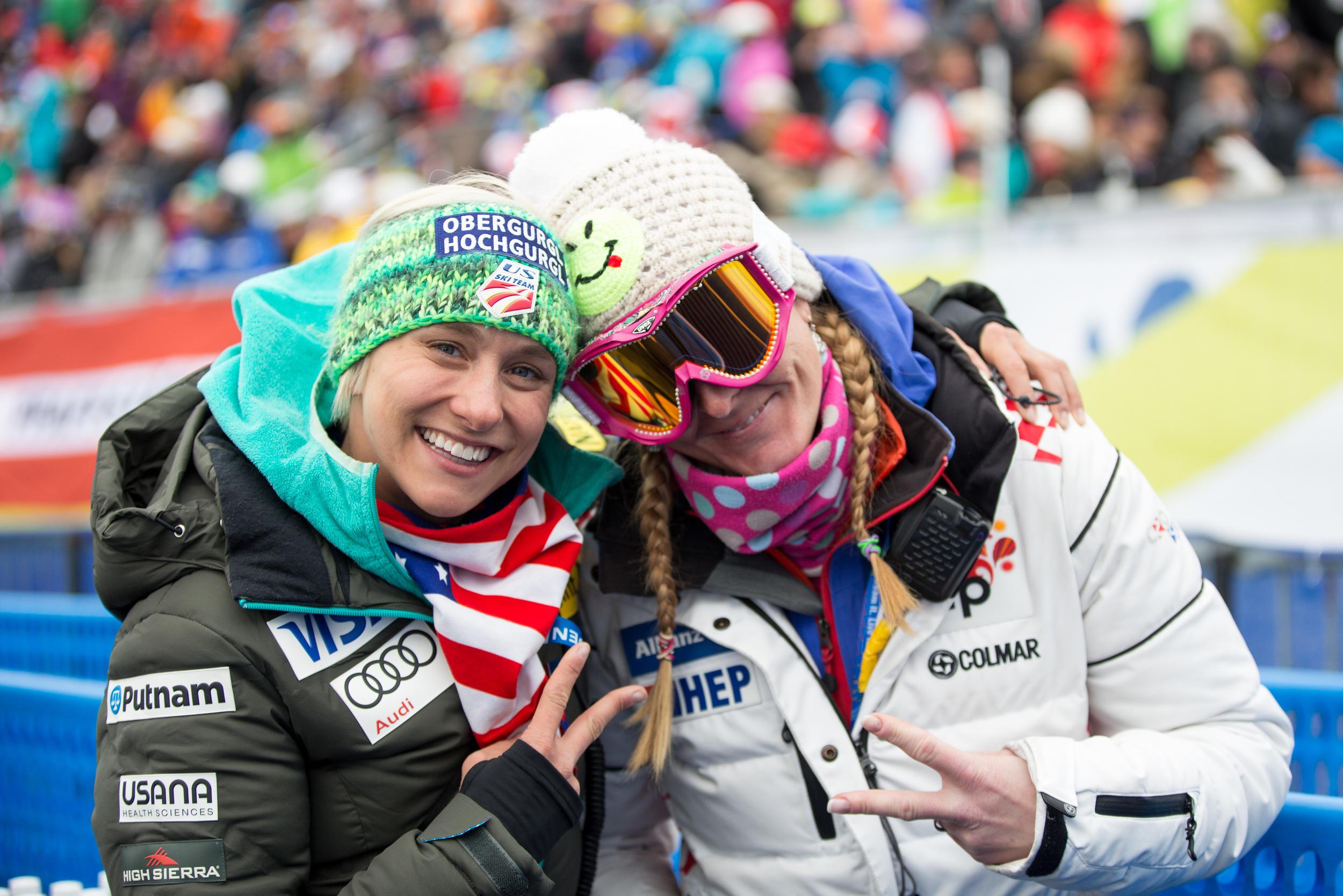Megan and friend Janica Kostelic at the Men's Slalom 2015 FIS Alpine World Ski Championships at Vail/Beaver Creek. Photo: USSA