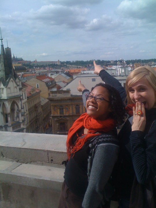 """Five years ago. Christina """"Chicks"""" Hicks and me checking out the rooftop view."""