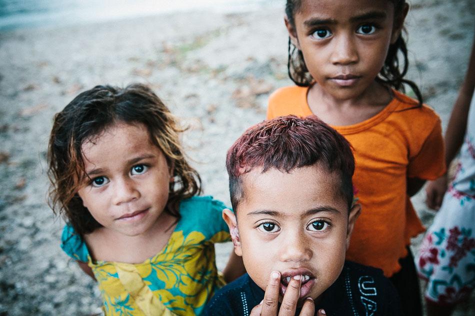 Children on the beach, Samoa.