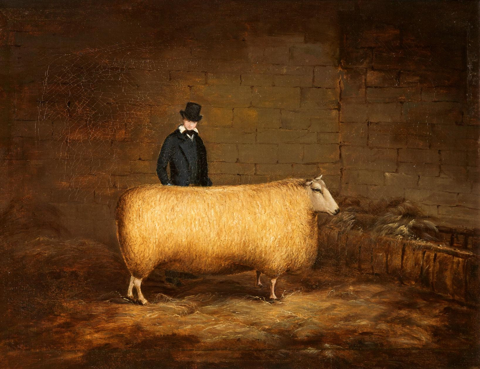 A sheep and its owner, c 1800. © Museum in the Park, Stroud. Artist unknown.