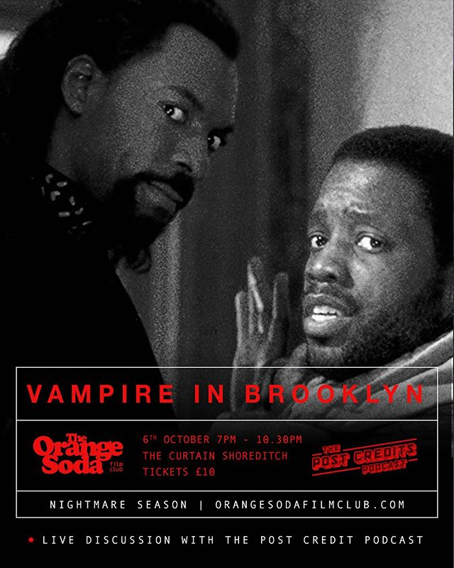 Showing Next - VAMPIRE IN BROOKLYN  A ship sails into Brooklyn with all its crew dead. But something gets off and the killing continues on land. The vampire is looking for a specific woman - half-human, half-vampire.  Live discussion with our friends @tpcpuk after the film credits run.  Vampire in Brooklyn Sunday 6th October  Doors Open - 7pm Film Starts - 7.30pm SHARP  Tickets available @ link in our bio 🎥🍊 #cinema #film #movies #entertainment #filmmaking #thecurtain #orangesodafilmclub #popcorn #orangesoda