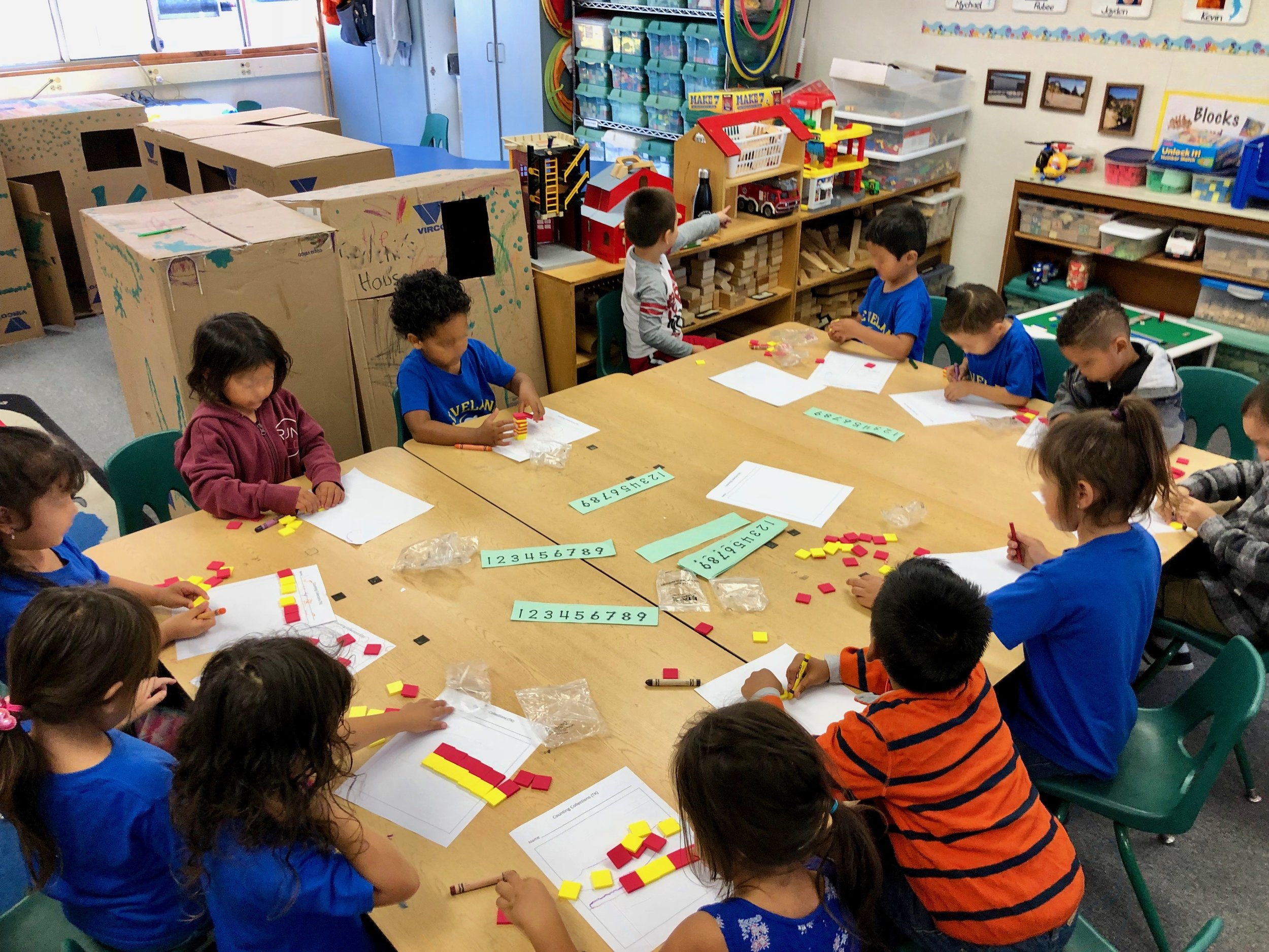 Counting Collections - Students organize objects and come up with efficient strategies for counting. Students develop their reasoning for counting and build a foundation of the base-ten number system.Invites students to explain, describe and represent.