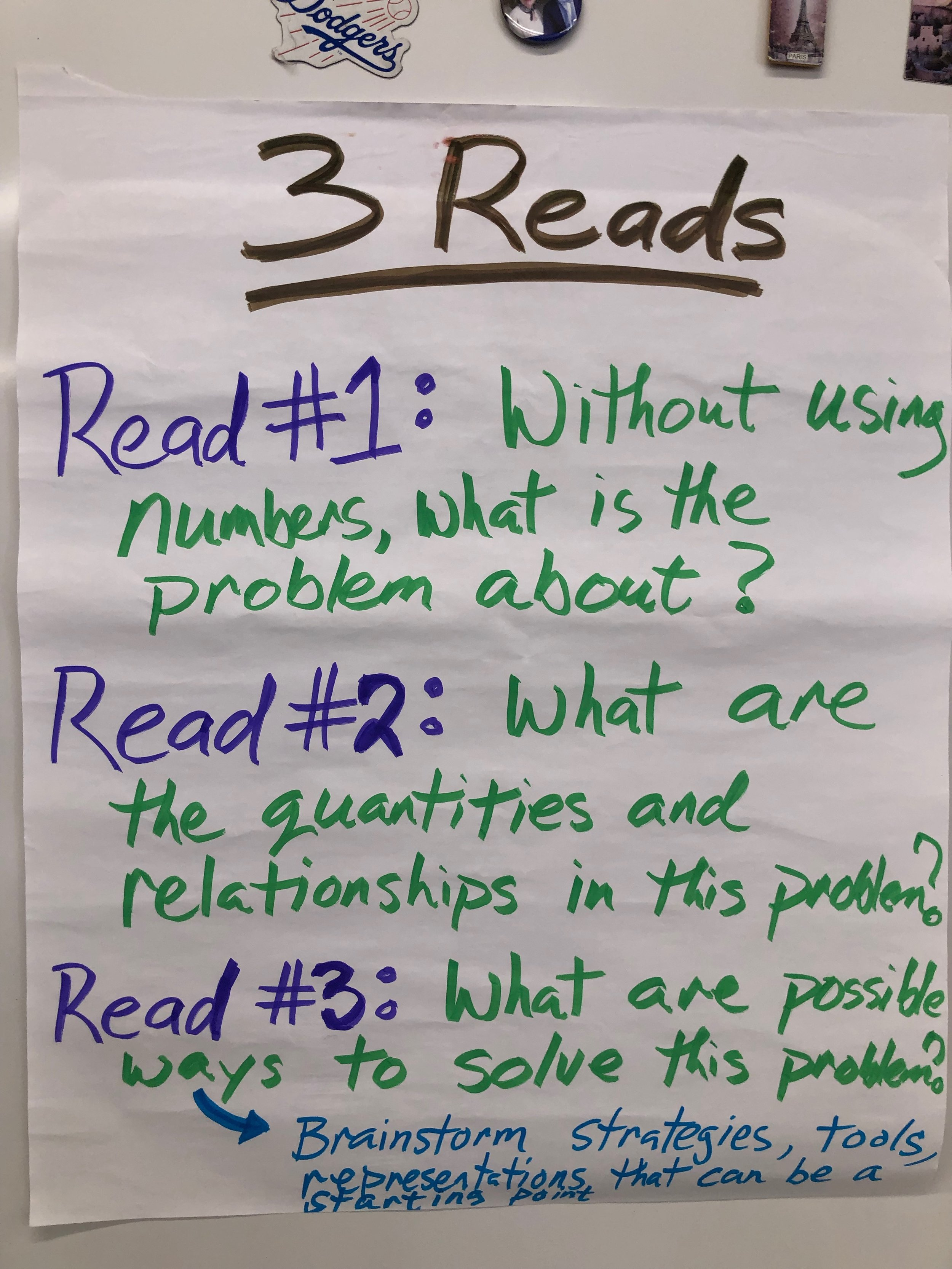 """Mathematical Language Routine """"Three Reads"""" - To help students read math problems like mathematicians. This routine supports reading comprehension, sense-making, and meta-awareness of mathematical language."""