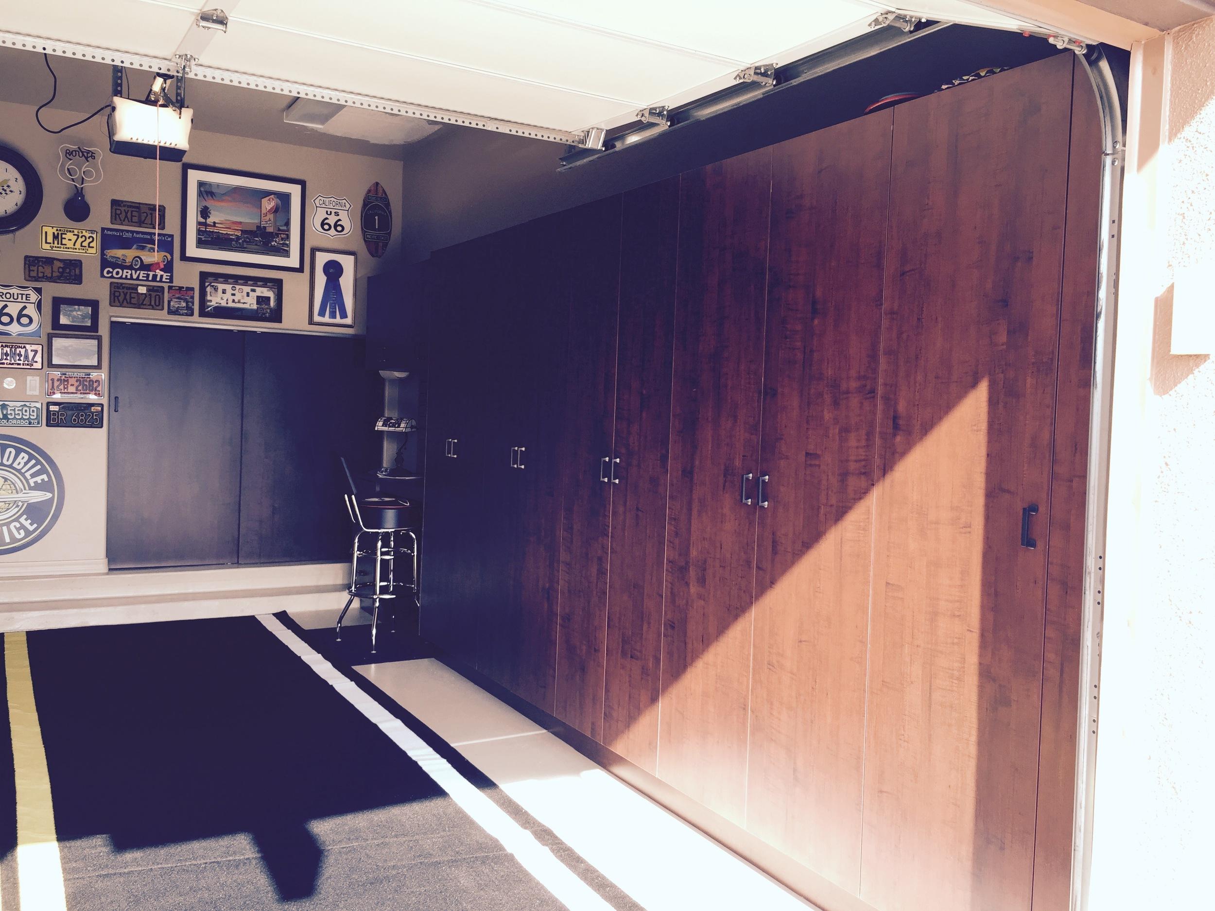 Garage storage with work bench