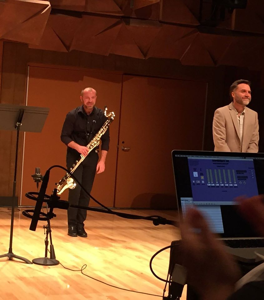 Post-performance bow with Mikel Kuehn after performing his  Rite of Passage for bass clarinet and electronics @ BGSU's New Music Festival (2015)