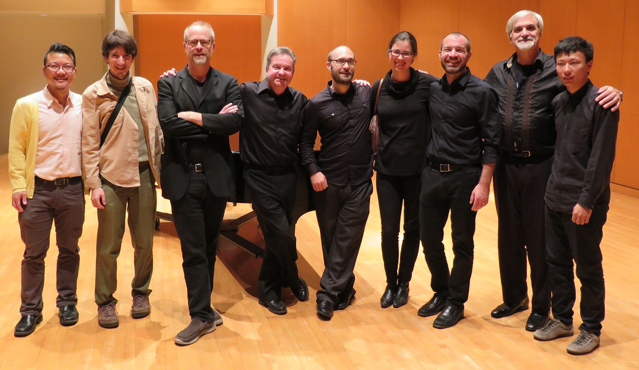 No Exit New Music Ensemble members with featured composers @ CSU's Drinko Hall in Cleveland (2016)