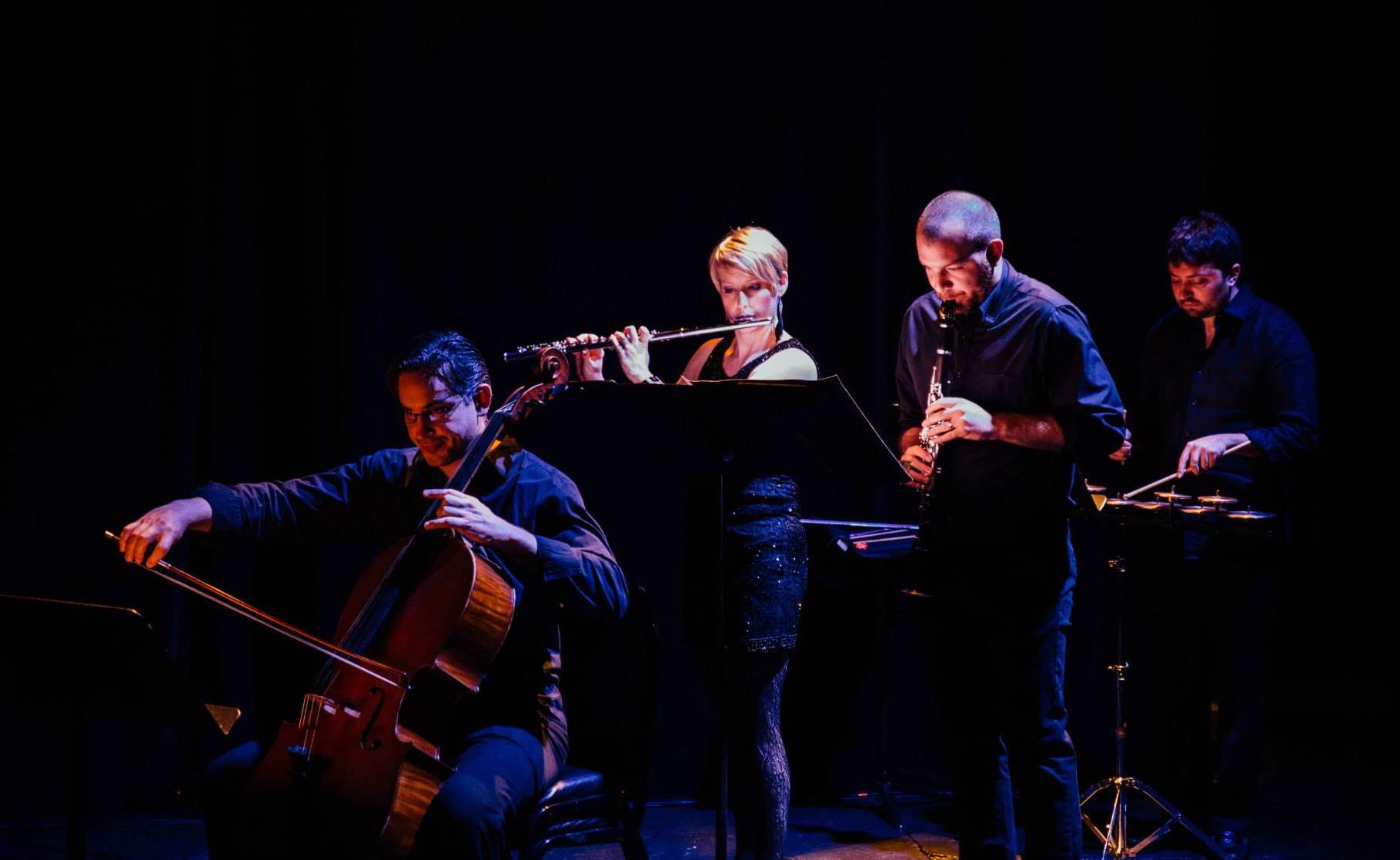 Pittsburgh New Music Ensemble's world premiere of Calvin Hitchcock's  Lehelet @ City Theatre in Pittsburgh (2015)
