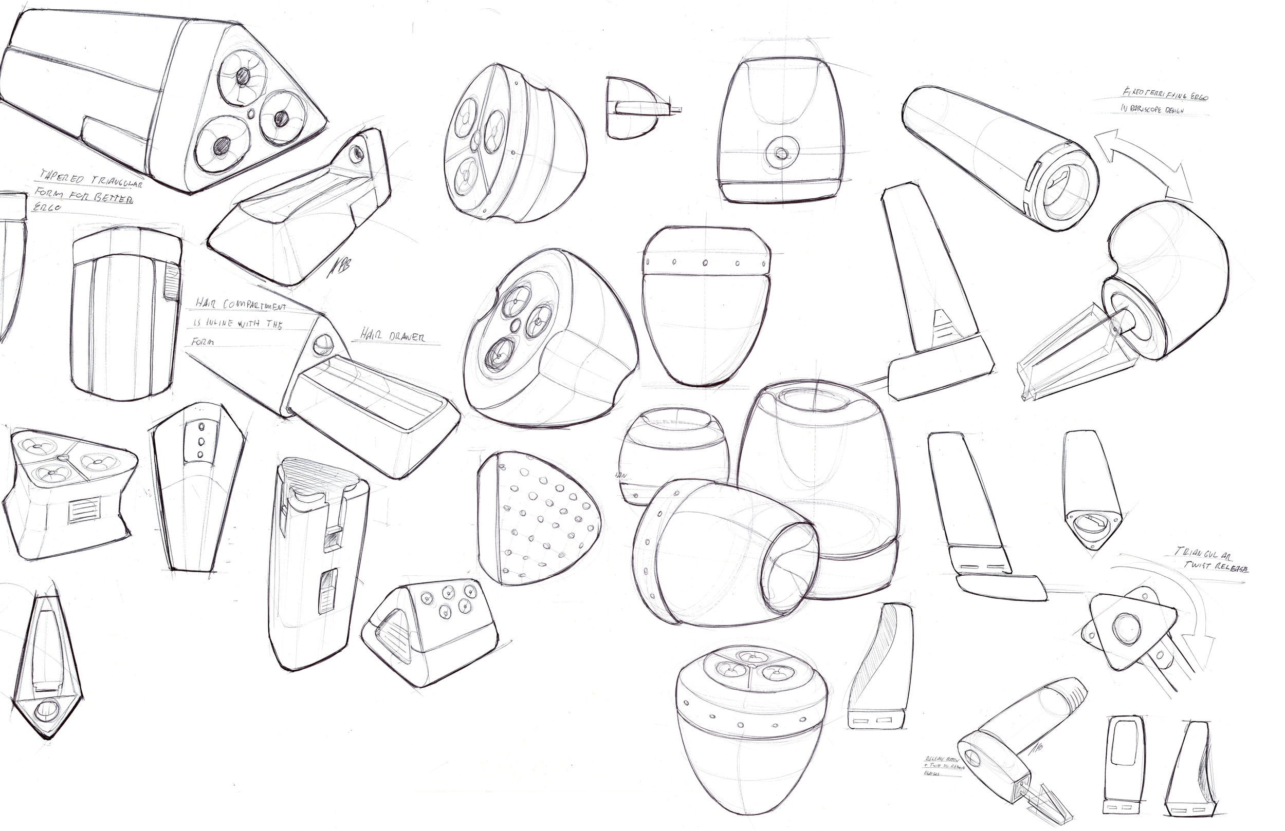 Form and function ideations. Sketches + CAD
