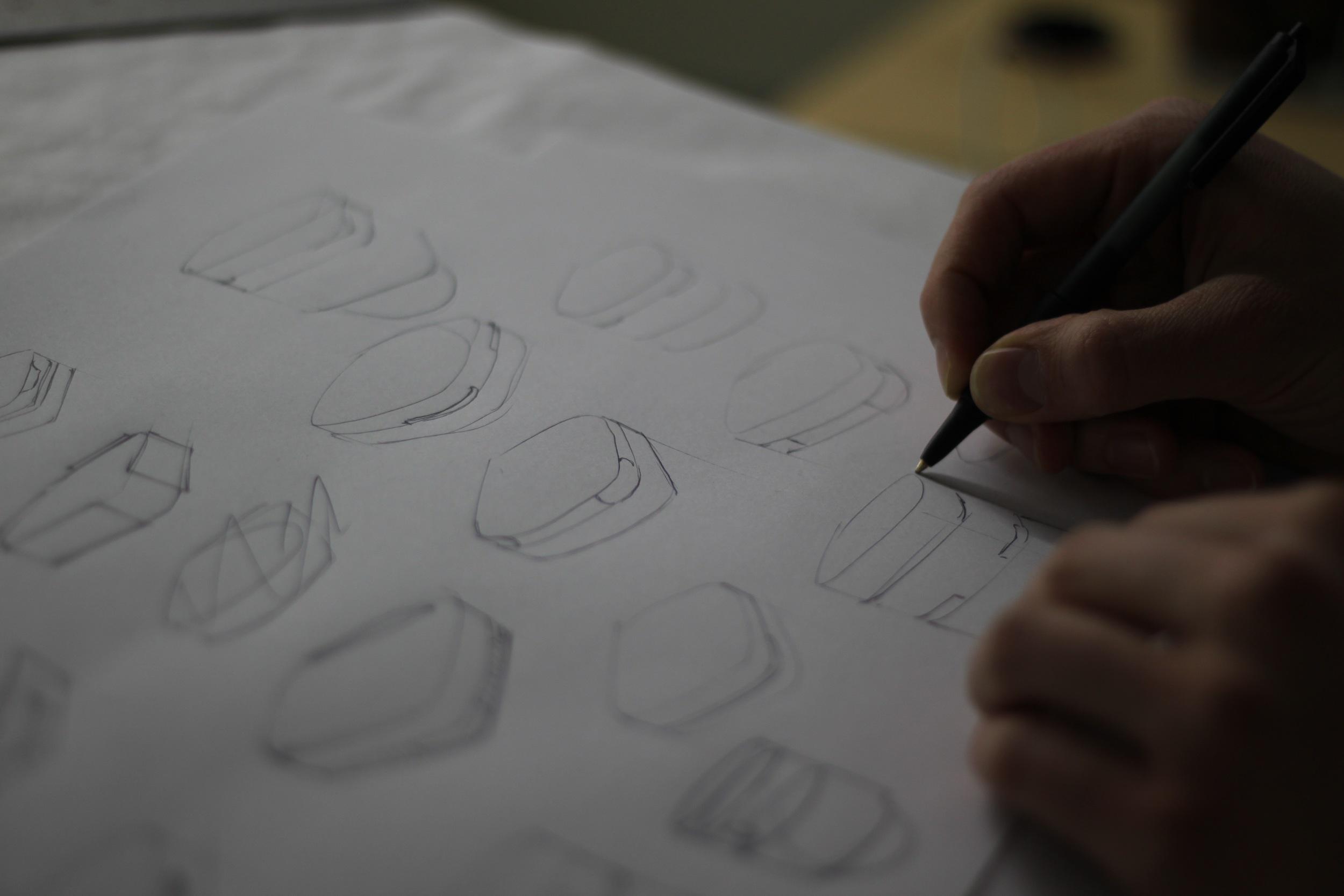 Sketching form development.