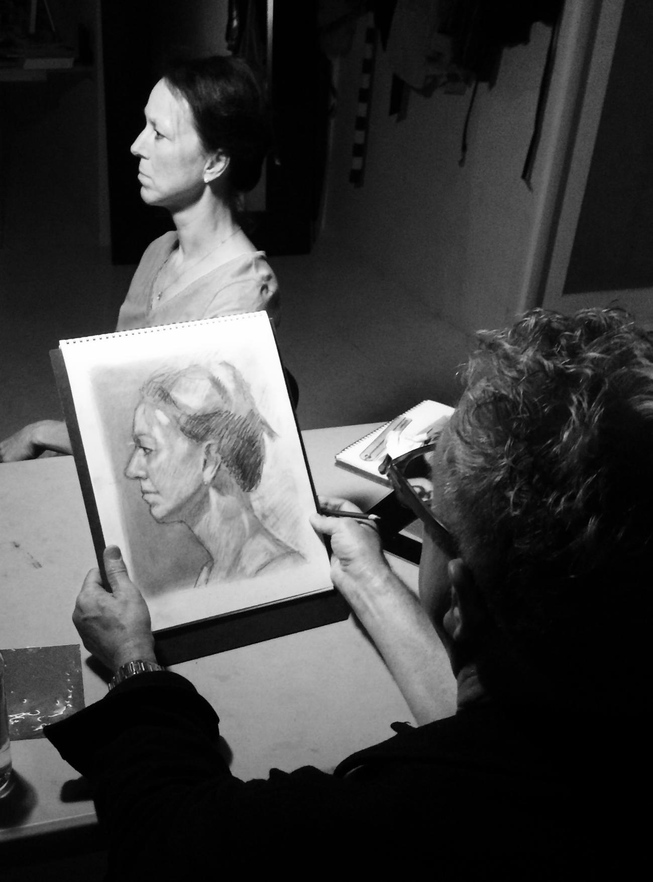 DRSB Workshop Instructor Brian Bomeisler--demonstration portrait drawing of a student