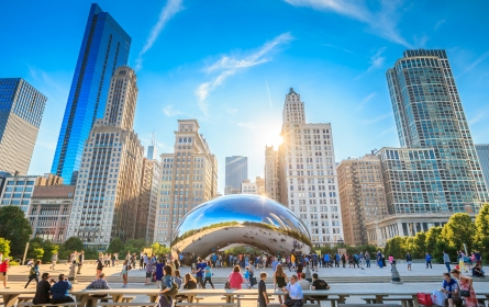 Visit Millenium Park and see Anish Kapoor's extraordinary sculpture, surrounded by the magnificent architecture of Chicago.