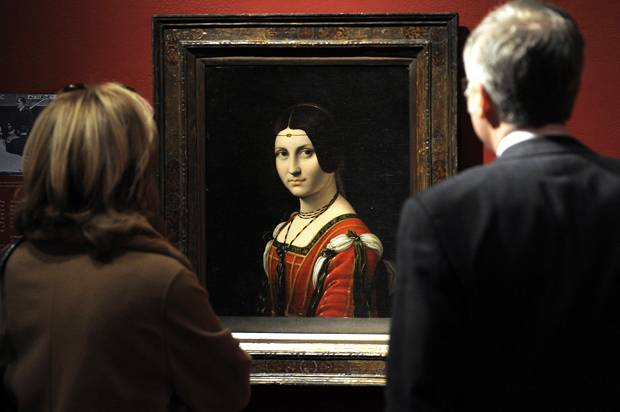 "A painting called ""La Belle Ferronniere"" by a follower of Leonardo da Vinci (Credit: Getty/Timothy A. Clary)"