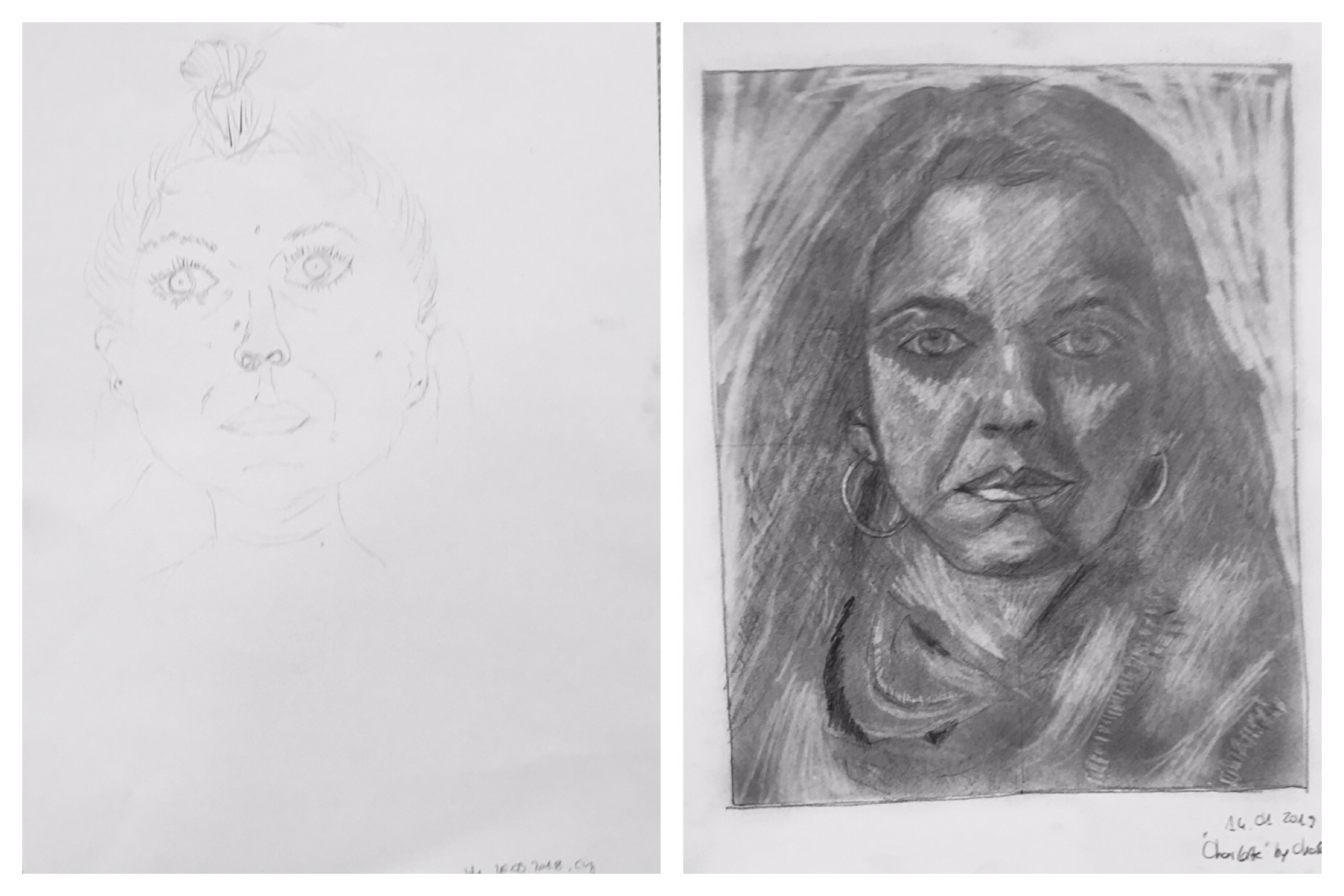 """This is just one of many  """"Before & After""""  examples — this student progressed so far in 5 days at a recent DRSB Workshop!"""