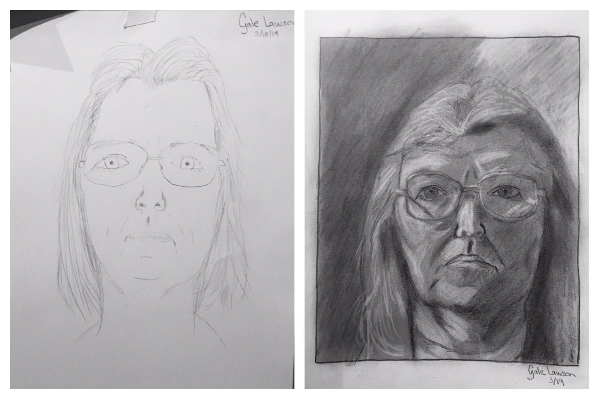 Gayle's Before and After Self-Portraits March 2019