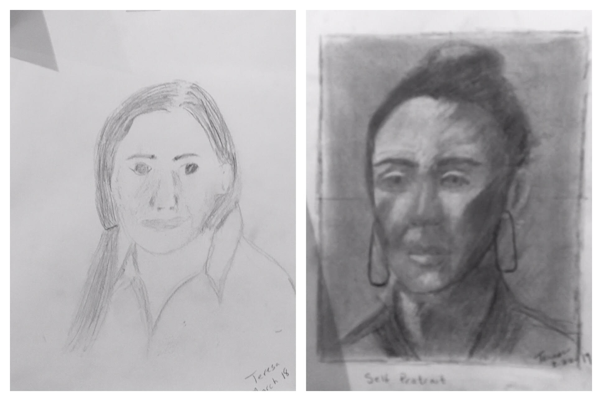 Before & After Student Drawings — Drawing on the Right Side