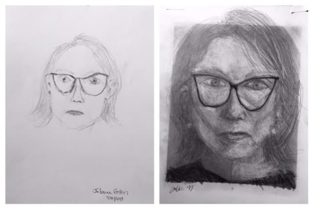 Julie's Before and After Self-Portraits March 2019