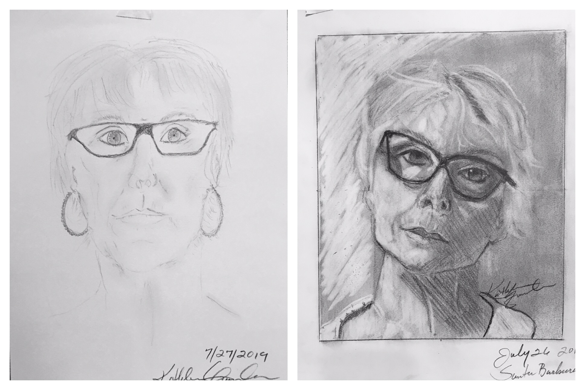 """A recent """"Before & After"""" self portrait after only 5 days of instruction."""