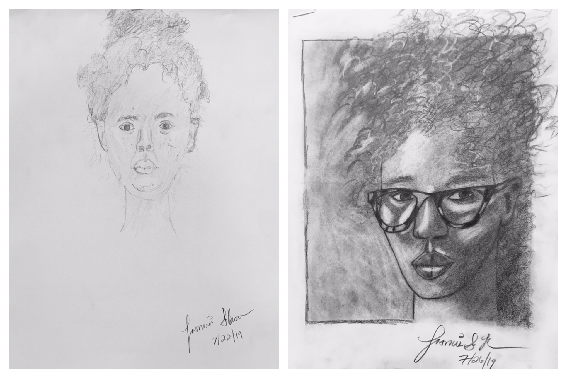 """Here is a recent """"before"""" and """"after"""" drawing by a student in July 2019…after only 5 days!  You can see the same results!"""