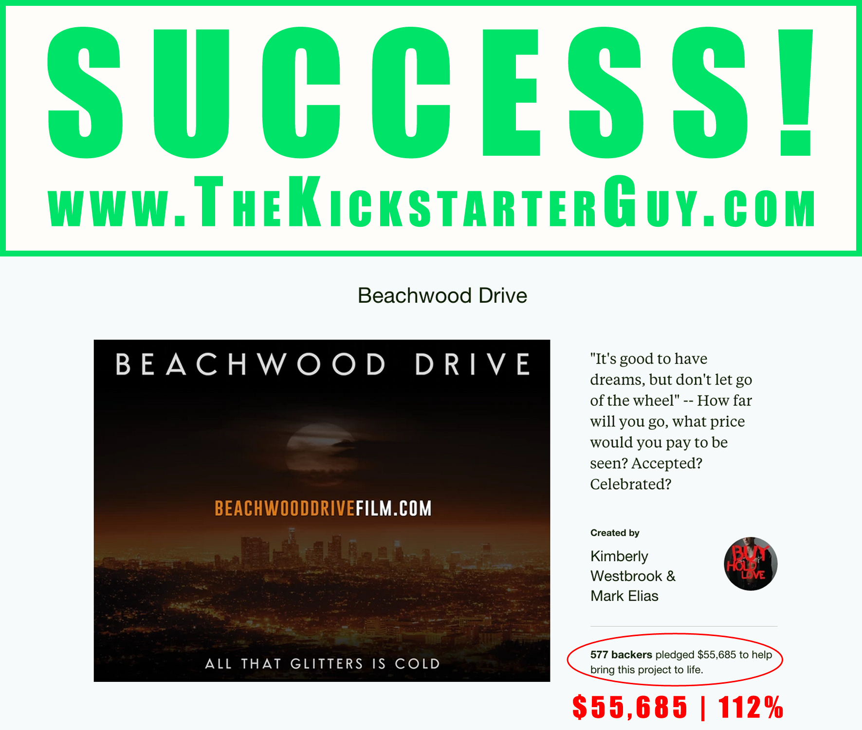 Successful Kickstarter Campaign Beachwood Drive Film