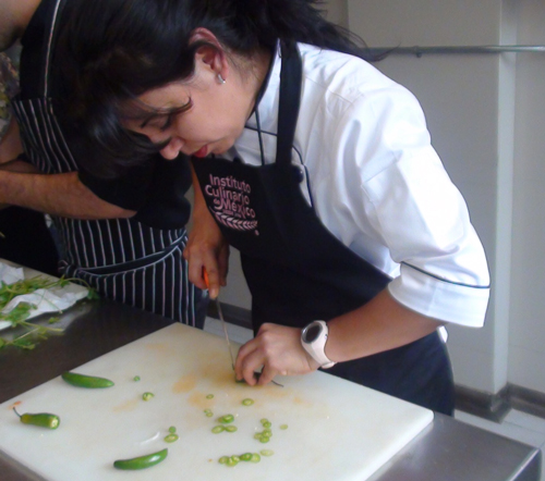 Chef Marisela Godinez takes a class with Chef Enrique Olvera of Pujol in Mexico City