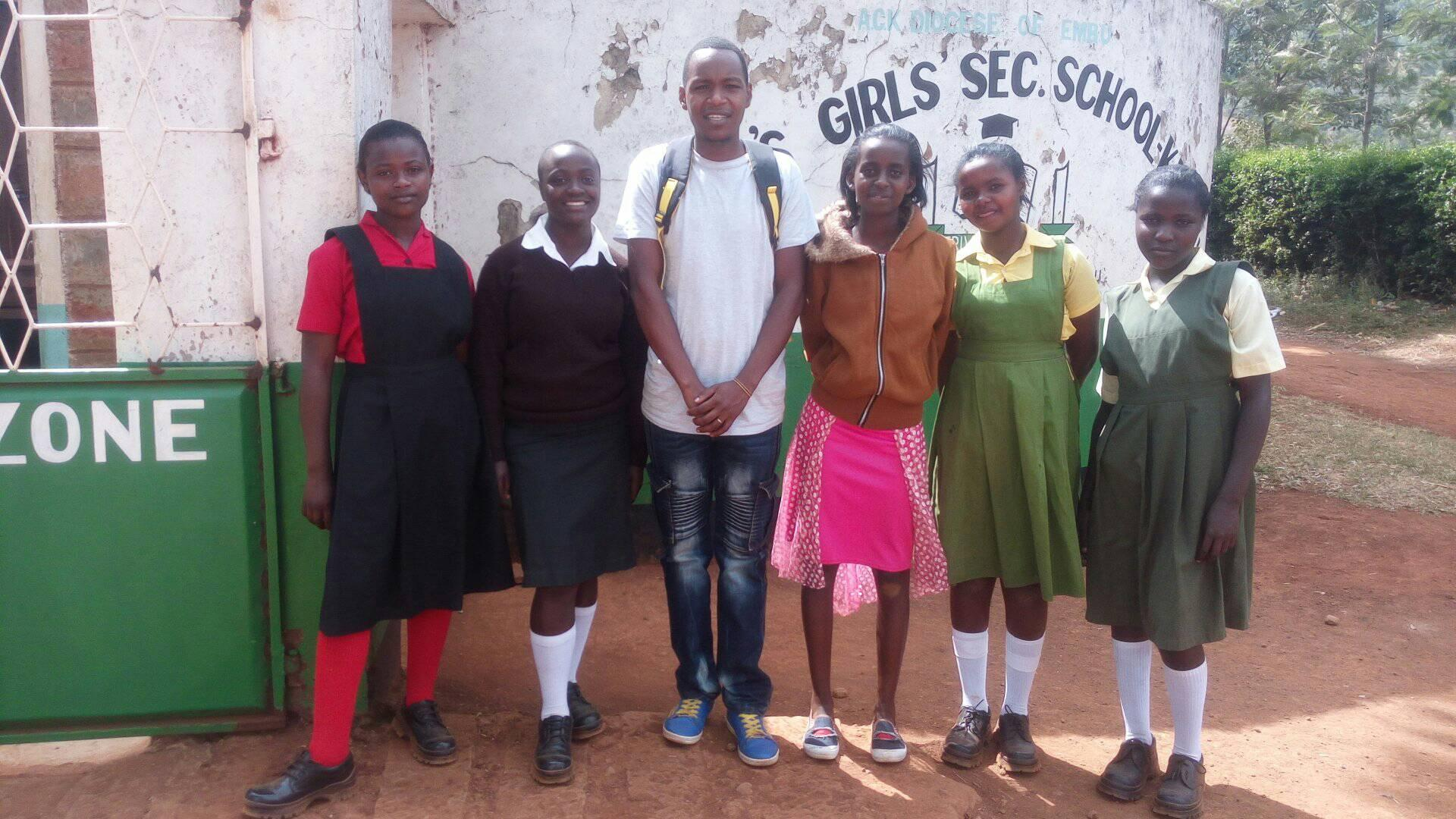 All of the new sponsored high school girls, along with Evelyn, were able to enroll at St. John's Secondary School.