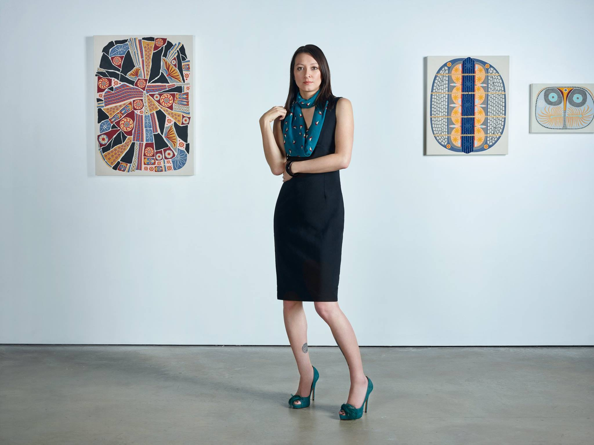 Cindy Lisica with artwork by Catherine Colangelo. Photo by Jan Rattia, 2017.